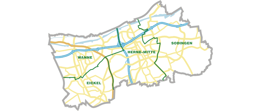 Herne Karte Stadtteile.Stadt Herne Die Stadtbezirke